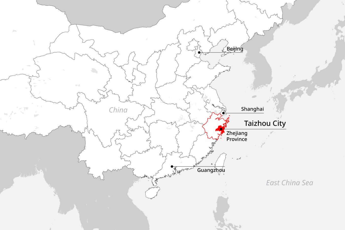 Map Taizhou City, Zhejiang